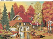 Схема для вышивки бисером на габардине Осенний пейзаж Acorns А3-К-385