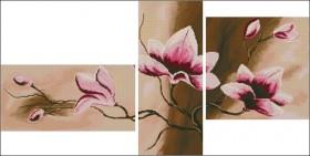 Схема вышивки бисером на атласе Триптих Цветы 4, , 175.00грн., ТС2-11, Эдельвейс, Картины из нескольких частей