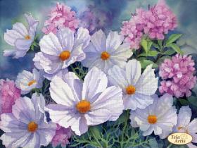 Схема для вышивки бисером на атласе Космея и флокс, , 95.00грн., ТА-389, Tela Artis (Тэла Артис), Цветы