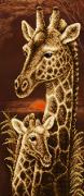 Схема для вышивки бисером на атласе Мамина любовь. Жирафы