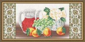 Схема вышивки бисером на габардине Хрусталь. Хурма и виноград на бежевом