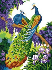 Набор для выкладки алмазной мозаикой Павлины на ветке Алмазная мозаика DM-300