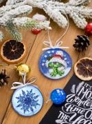 Набор для вышивки новогодней игрушки Теплые объятия