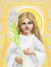 Рисунок на ткани для вышивки бисером Божья Матерь Трилетствующая (золото) А-строчка АС5-077