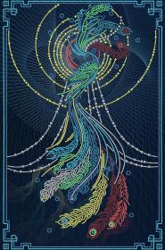 Схема вышивки бисером на атласе Птица счастья