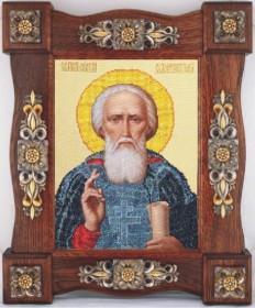 Схема вышивки бисером на ткани Св. Сергий Радонежский