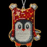Набор для вышивки бисером по дереву Пингвин в красном