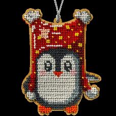 Набор для вышивки бисером по дереву Пингвин в красном Волшебная страна FLK-234