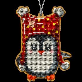 Набор для вышивки бисером по дереву Пингвин в красном Волшебная страна FLK-234 - 159.00грн.