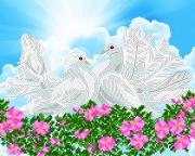 Схема  вышивки бисером на атласе Символ верной любви