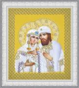 Набор для вышивки бисером Святые Петр и Феврония (жемчуг) золото