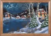 Схема для вышивки бисером на атласе Зимняя ночь