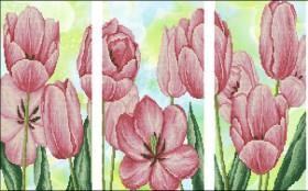 Схема вышивки бисером на атласе Триптих Тюльпаны Эдельвейс ТС-07 - 150.00грн.