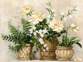 Схема для вышивки бисером на атласе Цветочный натюрморт, , 145.00грн., ТК-069, Tela Artis (Тэла Артис), Цветы