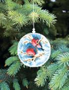 Набор для вышивки нитками Новогодняя игрушка Снегири на дереве