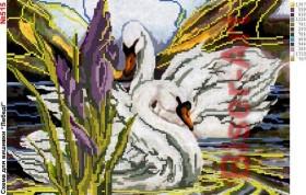 Схема вышивки бисером на габардине Лебеді