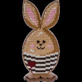 Набор для вышивки по дереву Пасхальный кролик в полосатом