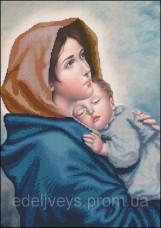 Схема вышивки бисером на габардине Мадонна с младенцем Эдельвейс С-160