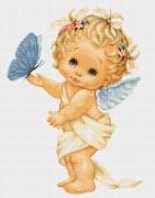 Набор для вышивки крестом Ангелочек с бабочкой