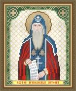 Схема вышивки бисером на габардине Св. Прп. Антоний