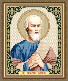 Схема вышивки бисером на габардине Св. Пророк Елисей