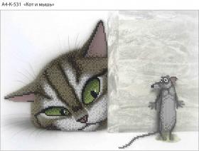 Схема для вышивки бисером на габардине Кот и мышь Acorns А4-К-531 - 45.00грн.