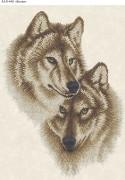 Схема для вышивки бисером на габардине Волки