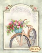 Схема для вышивки бисером на атласе Винтажный велосипед