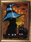 Схема вышивки бисером на атласе Котята
