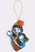 Набор для изготовления игрушки из фетра для вышивки бисером Снеговик