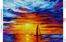 Схема для вышивки бисером на габардине Полум'яний захід сонця Вишиванка БА2-192