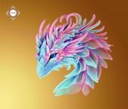 Пошитый клатч для вышивки бисером Лиловый дракончик