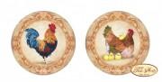 Схема вышивки бисером на габардине Подвеска Петух и Курочка