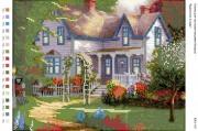 Рисунок на габардине для вышивки бисером Будиночок у саду