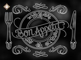 Схема вышивки бисером на атласе Bon appetit