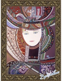 Схема для вышивки бисером на атласе Девушка в шляпе (по картине Д. Беридзе)