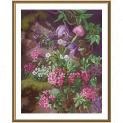 Набор для вышивки крестом на фоновой канве Лесной пурпур