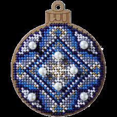 Набор для вышивания по дереву Елочная игрушка Синий шар с бусами Волшебная страна FLK-311