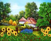 Рисунок на ткани для вышивки бисером Край села