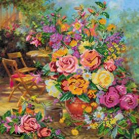 Схема вышивки бисером на холсте Цветочная гармония