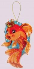 Набор для изготовления игрушки из фетра для вышивки бисером Золотая рыбка Баттерфляй (Butterfly) F099