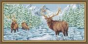 Схема вышивки бисером на габардине Олени в зимнем лесу