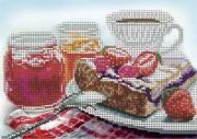 Схема для вышивки бисером на габардине Пирог к чаю