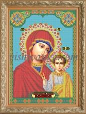 Рисунок на габардине для вышивки бисером Икона БМ Казанская Вишиванка А2-003
