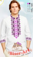 Заготовка мужской сорочки на белом габардине Biser-Art Bis15115