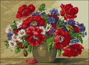Схема вышивки бисером на габардине Польові квіти у вазі