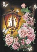 Схема вишивкі бісером на габардині Ліхтар у трояндах