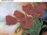 Схема для вышивки бисером на габардине Красные тюльпаны
