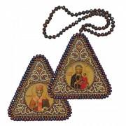 Набор для вышивания бисером двухсторонней иконы оберега Богородица Одигитрия и Николай Чудотворец