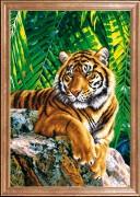 Схема вышивки бисером на габардине Тигр отец